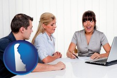 de map icon and a financial counseling session