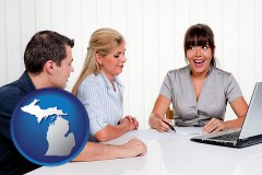 mi map icon and a financial counseling session