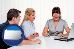 pa map icon and a financial counseling session